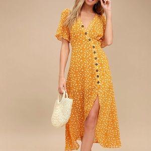 Lulus After-Bloom Golden Delight Dress (XS)